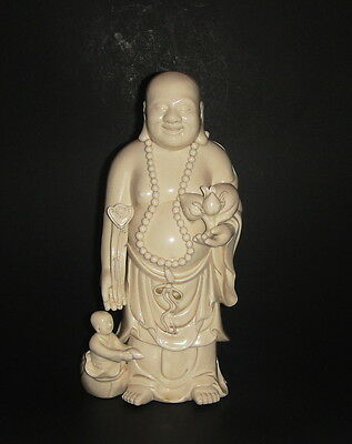 Large Antique Chinese Blanc de Chine Buddha Statue Signed