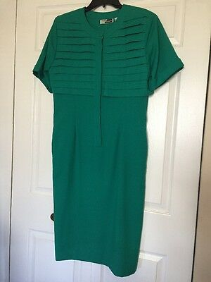 Vintage SUNSHINE STARSHINE Size 12 Green 80's Dress Top-tiered Admiral Style