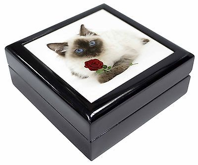 Ragdoll Kitten Cat with Red Rose Gold Rim Plate in Gift Box Christmas AC-159RPL