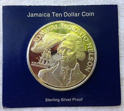 1976 Jamaica Ten Dollar Proof Sterling Silver Horatio Nelson 1.35 oz +