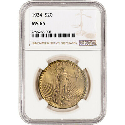 US Gold $20 Saint-Gaudens Double Eagle - NGC MS65 - Random Date