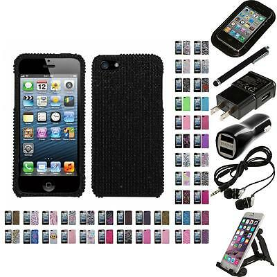 For Apple iPhone 5/5S/SE Diamond Diamante Bling Rhinestone Case Cover Bundle