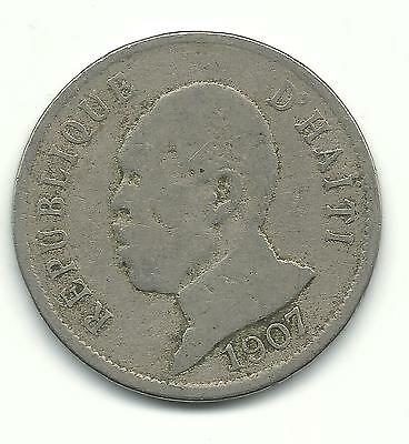 A Vintage 1907 Haiti 50 Centimes Coin-Apr819