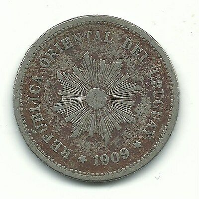 A Very Nice 1909 Uruguay 5 Centesimos Coin-May314