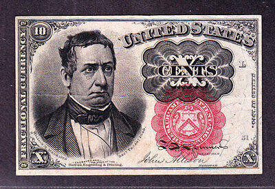 US 10c Fractional Currency 5th Issue Pos L 51 FR 1266 VF-XF (-002)
