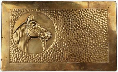 Vintage BRASS HORSE Head Cigar BOX Wood Lined