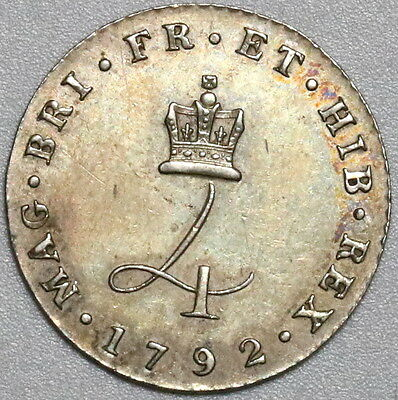 1792 GEORGE III RARE Silver 4 Pence AU WIRE Money Type Coin (16061917R)