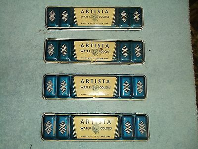 Vintage Collectible Water Colors Paint Metal Tin Artista Binney & Smith
