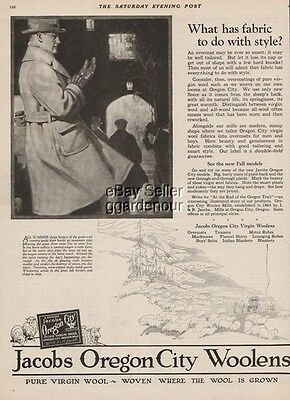 1923 Jacobs Oregon City Wollens OR - Vintage Mens Fashion Andrew Loomis Art Ad
