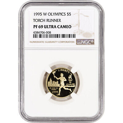 1995-W US Gold $5 Olympic Torch Runner Commemorative Proof - NGC PF69