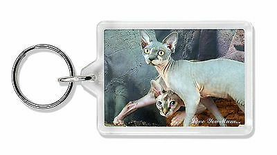 Sphynx Cat 'Love You Mum' Photo Keyring Animal Gift, AC-24lymK