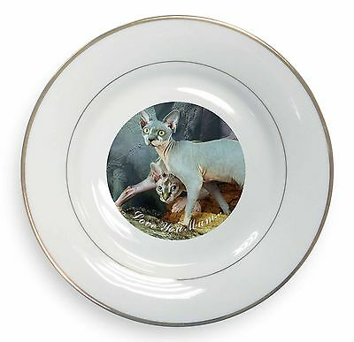 Sphynx Cat 'Love You Mum' Gold Rim Plate in Gift Box Christmas Prese, AC-24lymPL