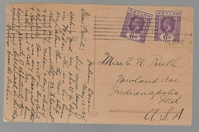 1924 Colombo Ceylon RPPC Real Picture Postcard Cover of Amsterdam canal to USA