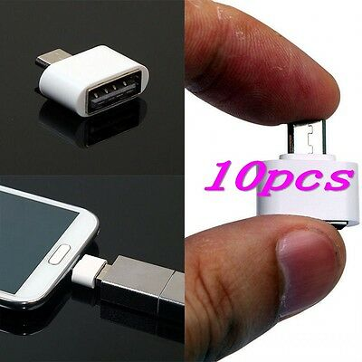 10 x Micro USB Male to USB 2.0 Female Adapter OTG Converter For Android Tablet
