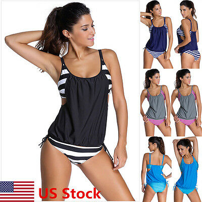 Women's Tankini Bikini Set Push up Padded Swimsuit Bathing Suit Swimwear Beach