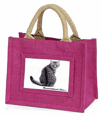 Tabby Cat Love Sentiment Little Girls Small Pink Shopping Bag Christm, AC-68uBMP
