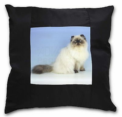 Himalayan Cat Black Border Satin Feel Cushion Cover With Pillow Inser, AC-98-CSB