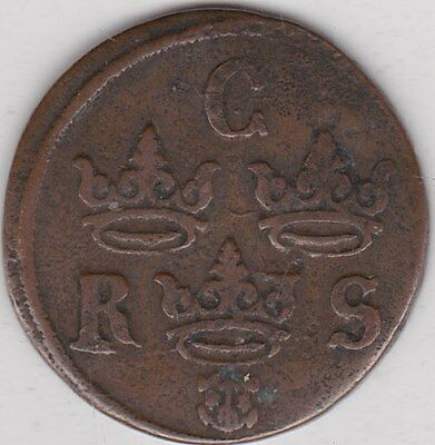 1645 Sweden Copper Quarter Ore In Good Fine Condition