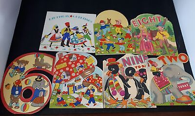 Huge collection of VINTAGE birthday CARDS Unused X10 colour 1940's - 50's? MIA