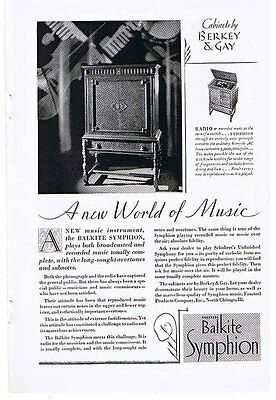 BALKITE SYMPHION 'A New World of Music' 1928 Ad