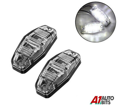 2 12v LED White side Front chrome marker light lamps for trailer truck lorry DOT