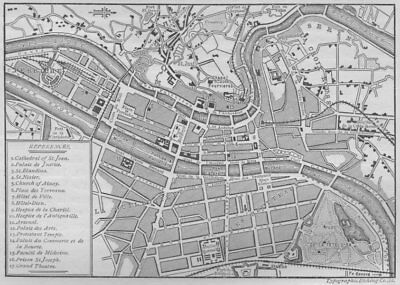LYON. Plan of Lyons 1882 old antique vintage map chart