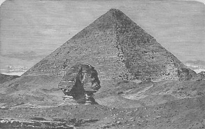 CAIRO. The Great Pyramid and the Sphinx 1882 old antique vintage print picture