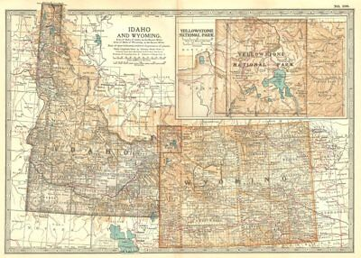 IDAHO & WYOMING. State map showing counties. Inset Yellowstone Park 1903