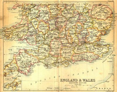 ENGLAND WALES. South. Bartholomew Walker 1888 old antique map plan chart