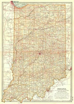 INDIANA. state map showing counties & some battlefields/dates 1903 old
