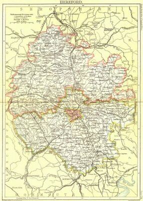HEREFORD. Black 1892 old antique vintage map plan chart