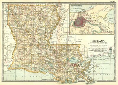 LOUISIANA. Inset New Orleans 1903 old antique vintage map plan chart