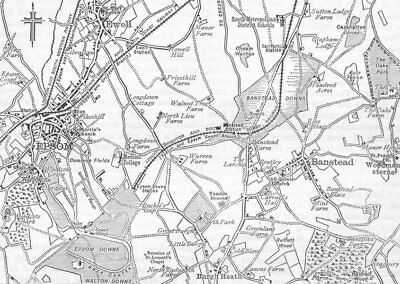 SUTTON. Map of Banstead Downs and Vicinity. Surrey 1888 old antique chart