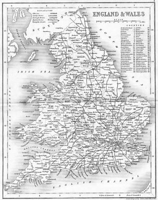 ENGLAND & WALES. Antique map showing main roads. ARCHER/DUGDALE c1840 old