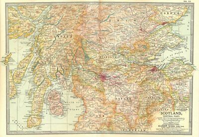 SCOTLAND CENTRAL. Lanark Peebles Stirling Perth Argyll Ayr Fife 1903 old map