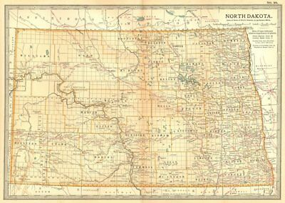 NORTH DAKOTA. State map.Shows counties & Indian reservations.Britannica 1903
