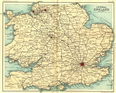 UK. Central England. Walker Bartholomew 1896 old antique map plan chart