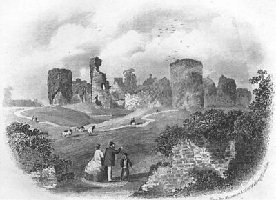 SUSSEX. Pevensey Castle. Eastbourne. Newman 1860 old antique print picture