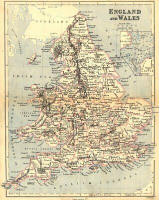 ENGLAND WALES. Longman Weller Dover Straits 1882 old antique map plan chart