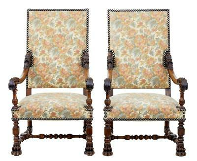 Fine Pair Of 19Th Century French Carved Walnut Armchairs