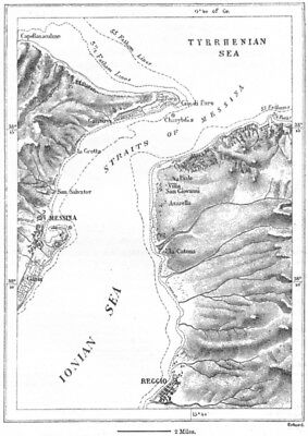 ITALY. Strait of Messina, sketch map c1885 old antique vintage plan chart