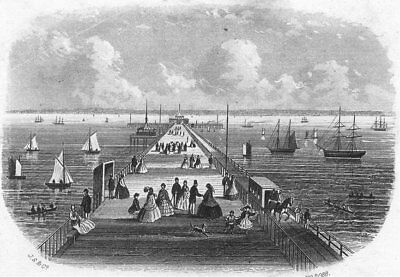ISLE OF WIGHT. Pier Ryde. IOW c1850 old antique vintage print picture