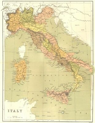 ITALY. Italy c1885 old antique vintage map plan chart