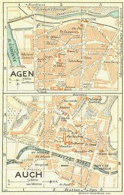 FRANCE. Agen; Auch 1926 old vintage map plan chart
