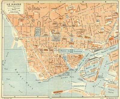 NORMANDY. Normandie. Le Havre 1928 old vintage map plan chart