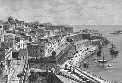 MALTA. Valetta c1885 old antique vintage print picture