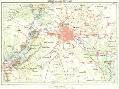 GERMANY. Berlin area c1885 old antique vintage map plan chart