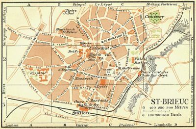 BRITTANY. St Brieuc 1932 old vintage map plan chart