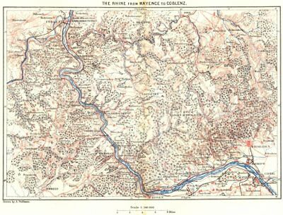 GERMANY. Rhine from Mainz to Coblenz c1885 old antique vintage map plan chart