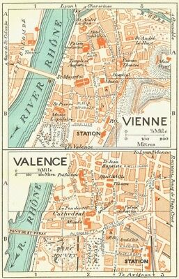 FRANCE. Vienne; Valence 1926 old vintage map plan chart